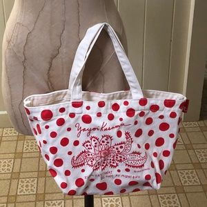 YAYOI KUSAMA Small Canvas Tote Bag Red Polka Dot